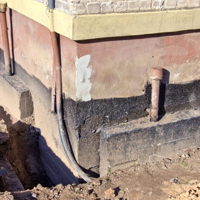 a foundation with waterproofing